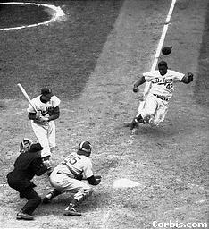 Dodger Jackie Robinson Stealing Home in Cubs Game